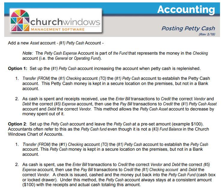 Accounting: Petty Cash (v19 & Newer) | ChMS