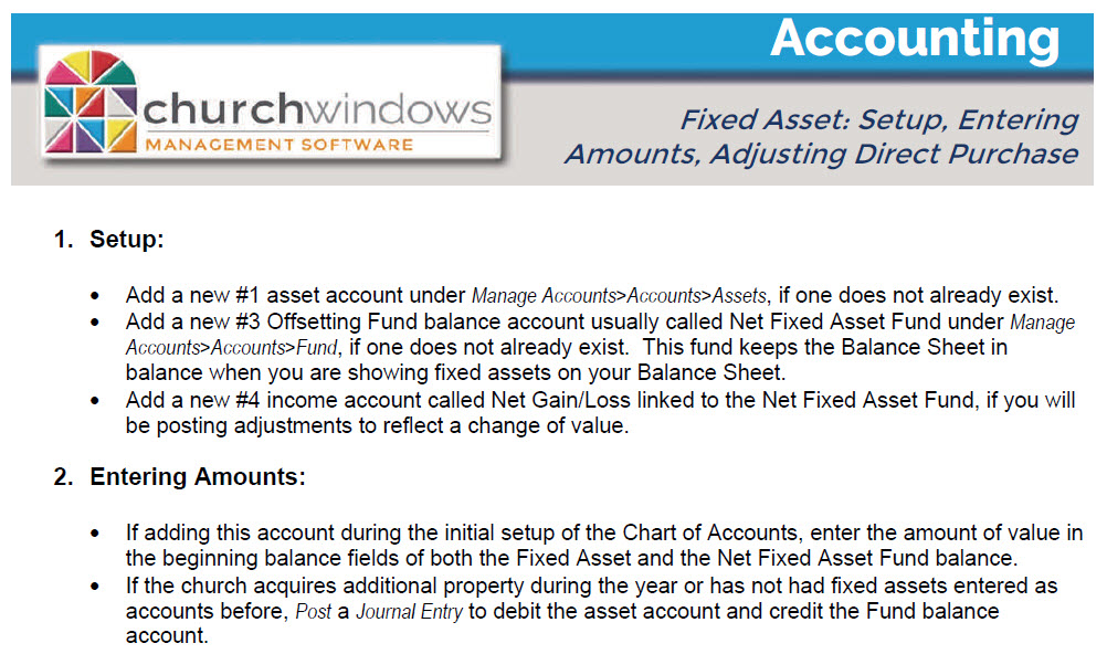 Accounting: Fixed Assets (v19 & Newer)   ChMS